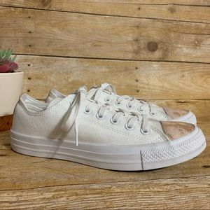 Converse white rose gold lace up sneaker 8 women